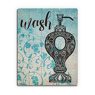 Astra Art Wash Blue Floral Wood Wall Art