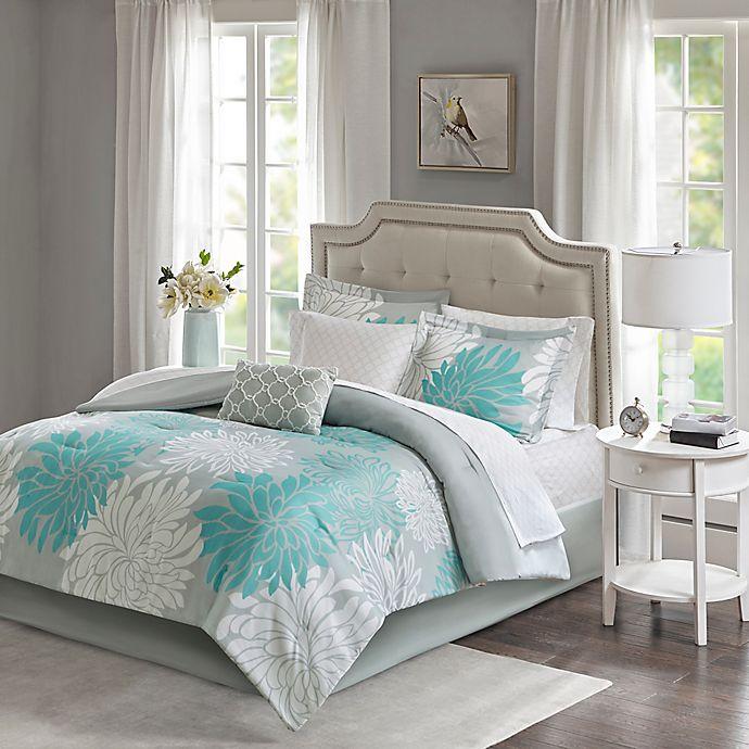 Alternate image 1 for Madison Park Essentials Maible 9-Piece Queen Comforter Set in Aqua