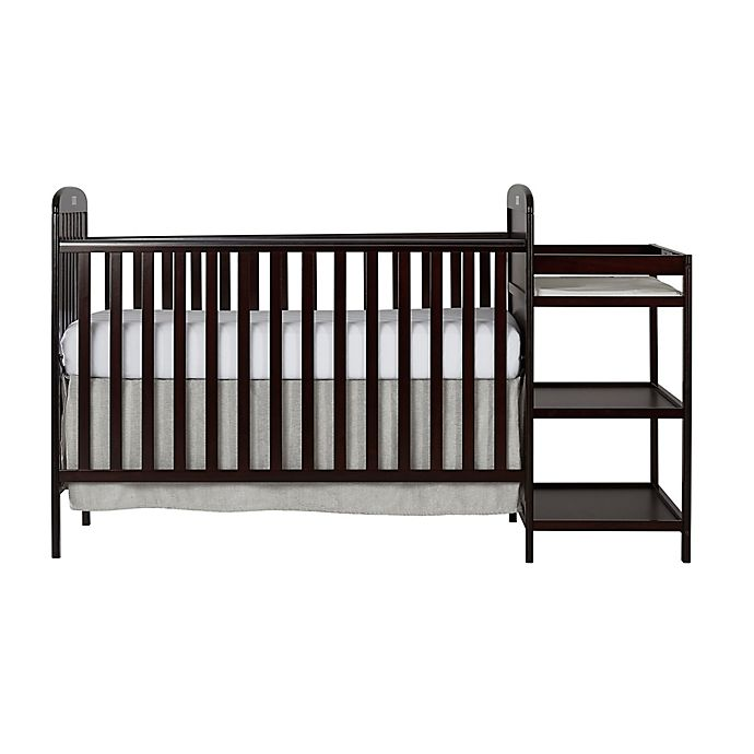 Alternate image 1 for Dream On Me Anna 4-in-1 Convertible Crib and Changing Table Combo in Espresso
