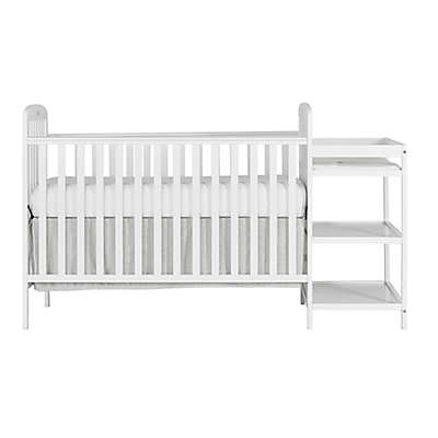 Dream On Me Anna 4-in-1 Convertible Crib and Changing Table Combo in White