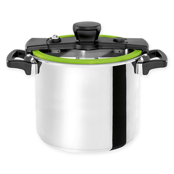 Alternate image 1 for Chef's Design® Sizzle Stainless Steel 10.6 qt. Low Pressure Cooker in Green