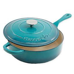 Crock-Pot® Artisan 3.5 qt. Cast Iron Covered Deep Saute Pan in Teal