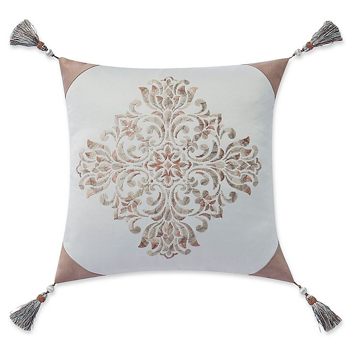 Alternate image 1 for Waterford® Gwyneth Square Throw Pillow in White/Gold