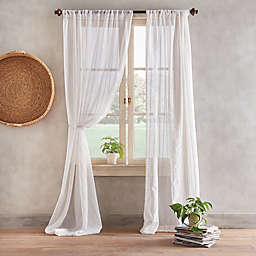 Desmond Pole Top Sheer Window Curtain Panel in Linen