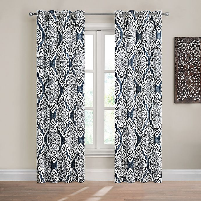 Alternate image 1 for Design Solutions Caleb 84-Inch Grommet Light-Filtering Window Curtain Panel in Navy