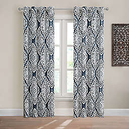 Design Solutions Caleb 95-Inch Grommet Light-Filtering Window Curtain Panel in Navy