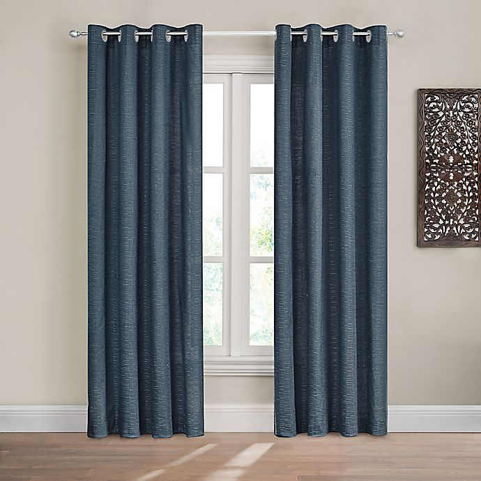 Alternate image 1 for Design Solutions Caleb 84-Inch Solid Grommet Light-Filtering Window Curtain Panel in Navy
