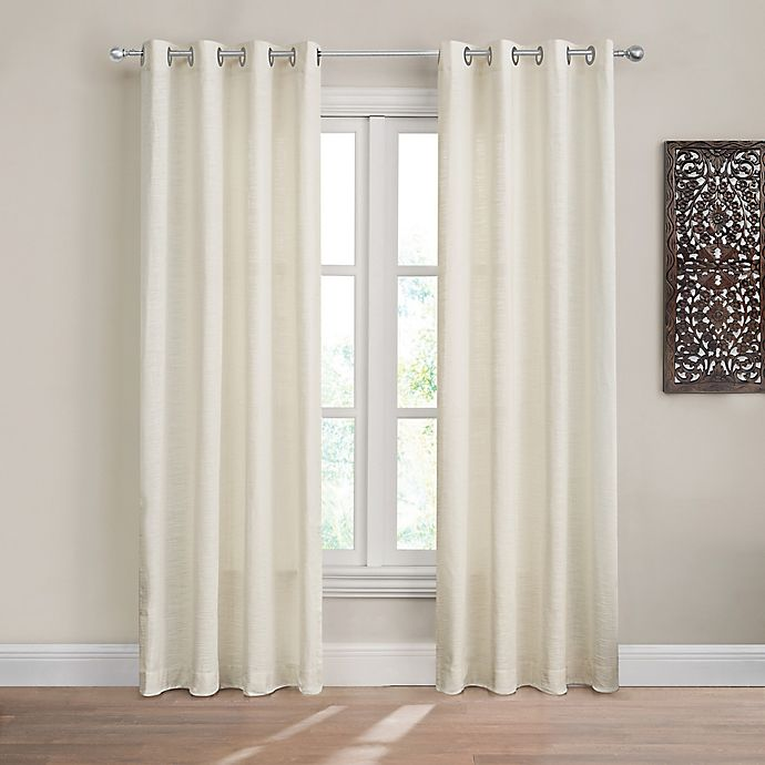 Alternate image 1 for Design Solutions Caleb 84-Inch Solid Grommet Light-Filtering Window Curtain Panel in Ivory