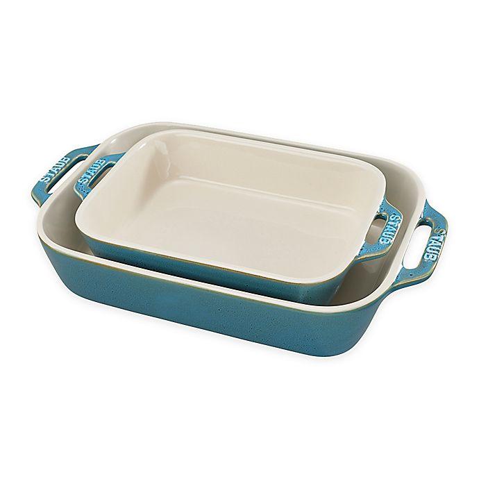 Alternate image 1 for Staub® 2-Piece Rectangular Baking Dish Set in Turquoise