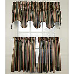 Montego Stripe Window Curtain Tiers, 100% Cotton