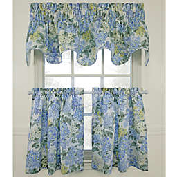 Hydrangea Blue Window Curtain Tiers, 100% Cotton