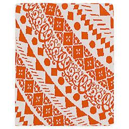 Surya Ekena Throw Blanket in Burnt Orange/Cream