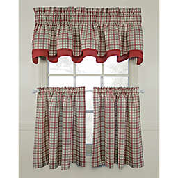 Bristol Plaid Window Curtain Tiers - Red, 100% Cotton