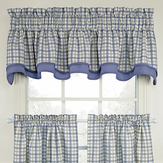 Alternate image 1 for Bristol Plaid Double Valance in Blue