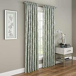 Dogwood Blossom 108-Inch Rod Pocket Room Darkening Window Curtain Panel in Green (Single)