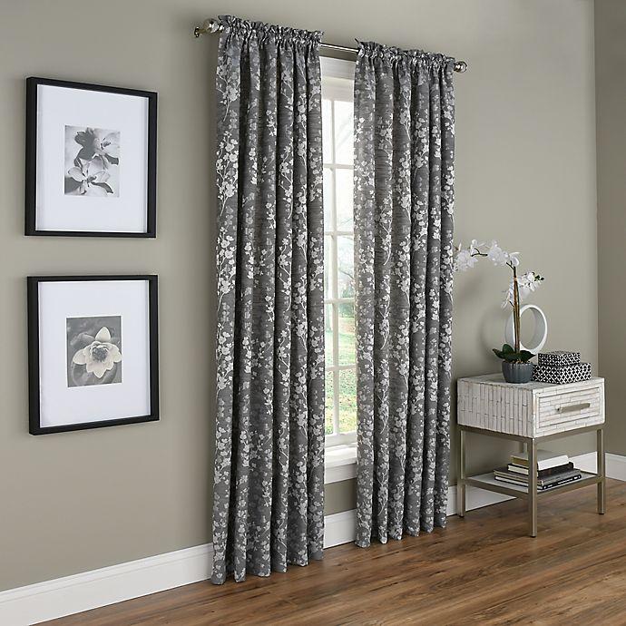 Alternate image 1 for Dogwood Blossom 84-Inch Rod Pocket Room Darkening Window Curtain Panel in Grey