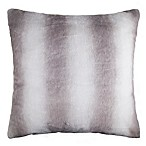 Faux Fur Striped 26  Square Throw Pillow in Grey