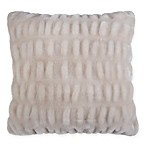 Ruched Faux Fur Square Throw Pillow in Oyster