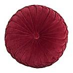 Velvet Tufted Round Throw Pillow in Red