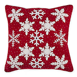 Crewel Snowflakes Square Throw Pillow in Red