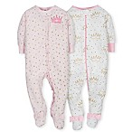 Gerber® Newborn 2-Pack Princess Footies in Pink