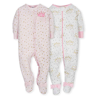 Gerber® 2-Pack Princess Footies in Pink