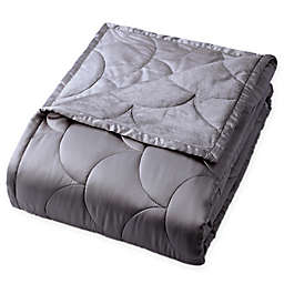 Nikki Chu LAYLA Reversible Brushed Velvet Throw Blanket in Charcoal