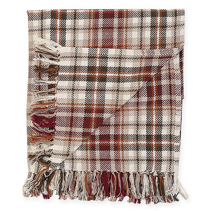 Alternate image 1 for Samuel Plaid Cotton Throw Blanket in Brown