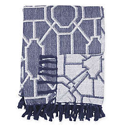 Trellis Cotton Throw Blanket in Navy