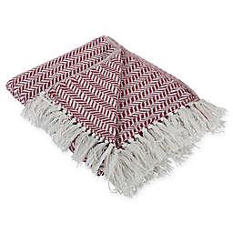 Herringbone Chevron Fringe Throw Blanket in Red