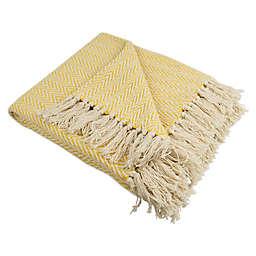 Mini Chevron Fringe Throw Blanket in Marigold