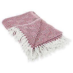 Diamond Fringe Throw Blanket in Red