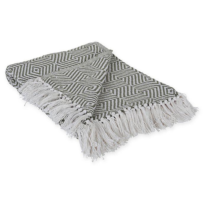 Alternate image 1 for Diamond Fringe Throw Blanket