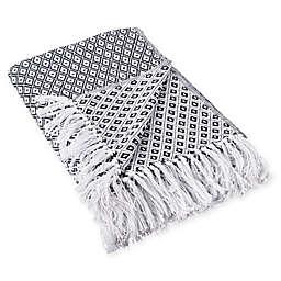 Mini Diamond Fringe Throw Blanket in Black