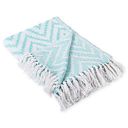 Chevron Fringe Throw Blanket in Aqua