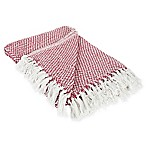 Woven Stripe Throw Blanket in Red