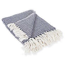 Woven Stripe Throw Blanket in Blue