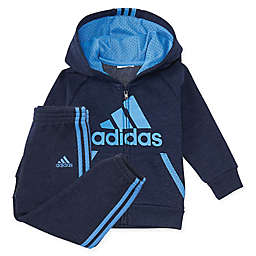adidas® 2-Piece Poly Fleece Hooded Jacket and Pant Set in Blue/Black