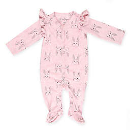 Jessica Simpson Floral Ruffle Footed Coverall in Pink