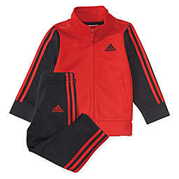 adidas® 2-Piece Team Tricot Jacket and Pant Set in Red