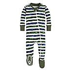 Burt's Bees Baby® Size 0-3M Two Tone Stripe Footie in Green/Blue