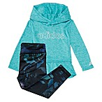 adidas® Size 9M 2-Piece Mélange Hooded Top and Legging Set in Aqua