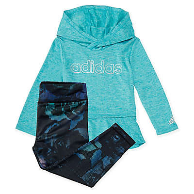 adidas® 2-Piece Mélange Hooded Top and Legging Set in Aqua