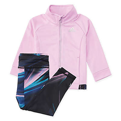 adidas® 2-Piece Tricot Jacket and Legging Set in Lilac