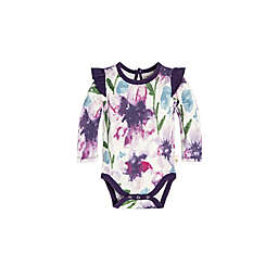 Burt's Bees Baby® Watercolor Daylily Ruffle Bodysuit in Purple