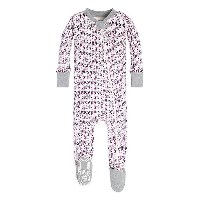 Alternate image 1 for Burt's Bees Baby® Organic Cotton Micro Cross Stitch Footie in Pink/Grey
