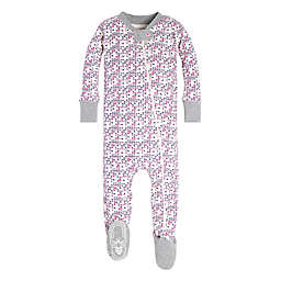 Burt's Bees Baby® Organic Cotton Micro Cross Stitch Footie in Pink/Grey