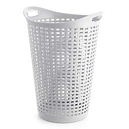 Starplast Flex Wicker-Style Round Plastic Laundry Hamper in White