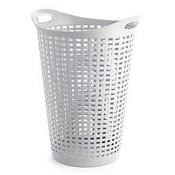 Starplast Flex Wicker Style Round Plastic Laundry Hamper In White