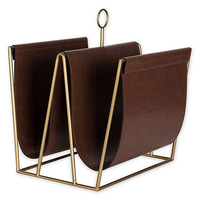 Alternate image 1 for Kate and Laurel® Alton Faux Leather Magazine or File Holder in Brown